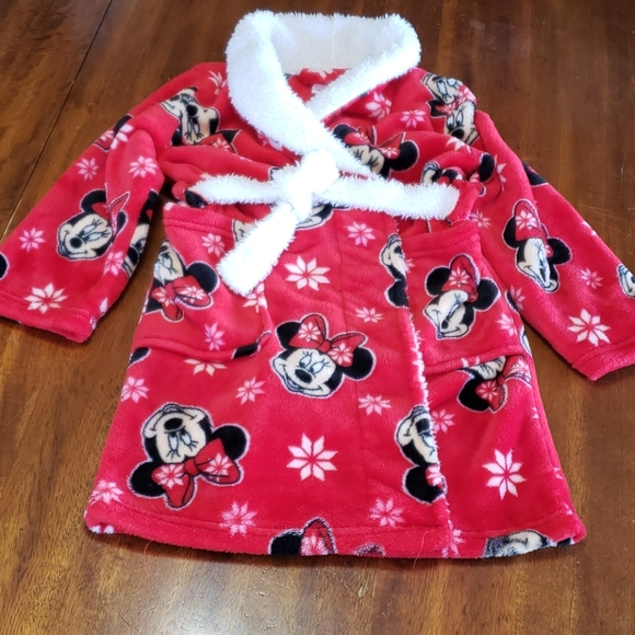 Minnie Mouse Disney Plush Robe Girls 6 Red Belted